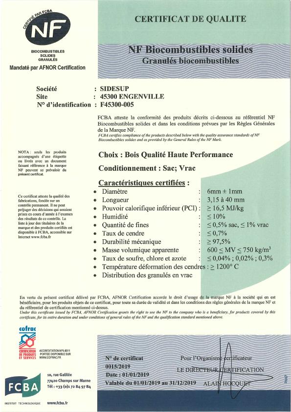 Certificat NF 2019